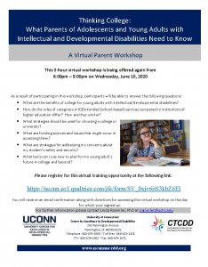 Thinking College: What Parents of Adolescents and Young Adults with Intellectual and Developmental Disabilities Need to Know
