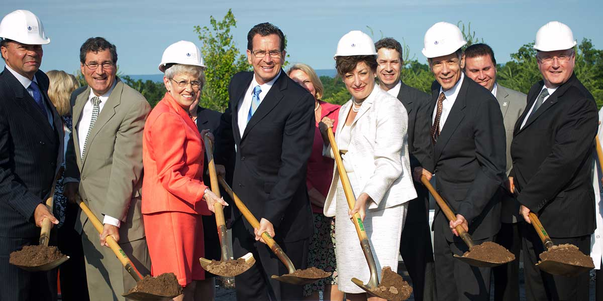 The groundbreaking for the first of the Bioscience Connecticut Construction projects on June 11, 2012.