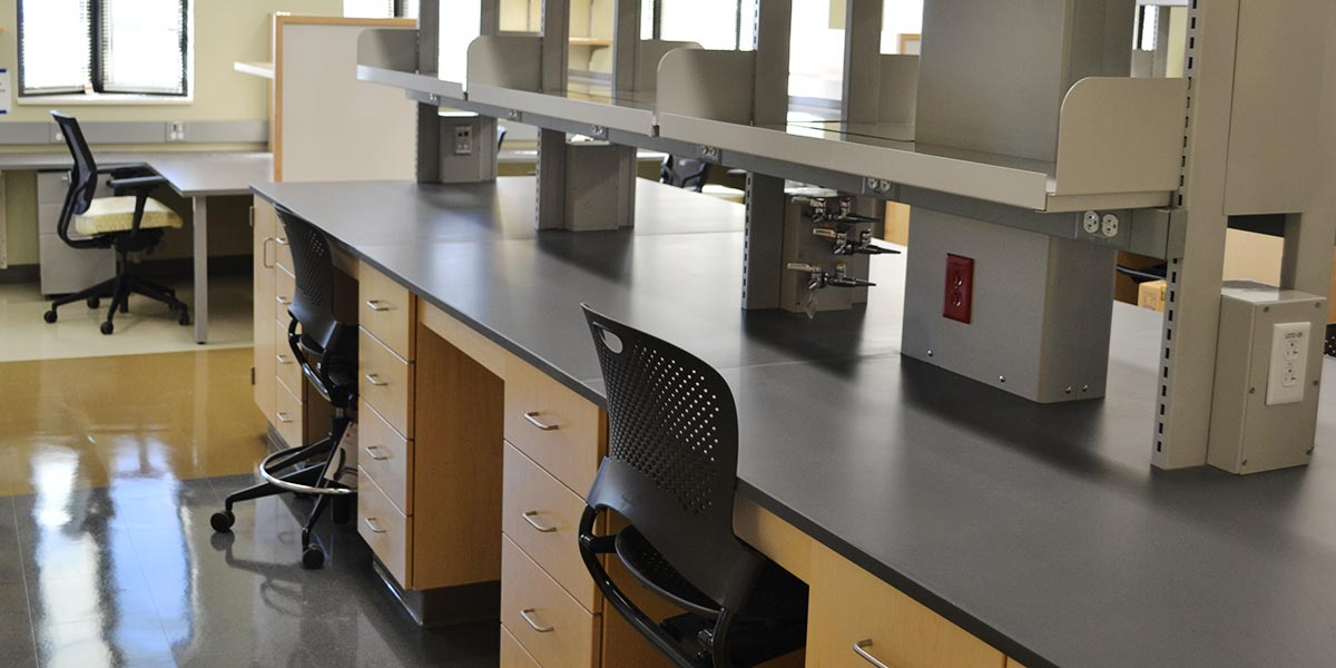 A renovated laboratory on the 7th floor of the UConn Health research building