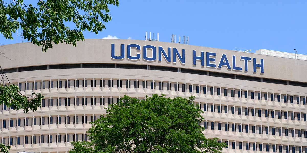 UConn Health sign in spring (Janine Gelineau/UConn Health)