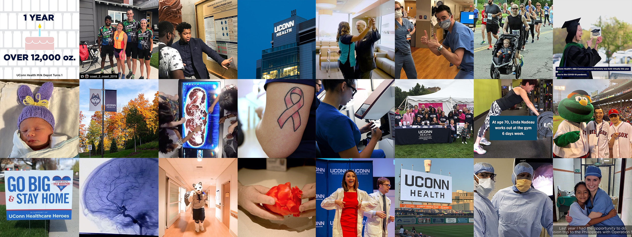 Collage of UConn Health Instagram photos