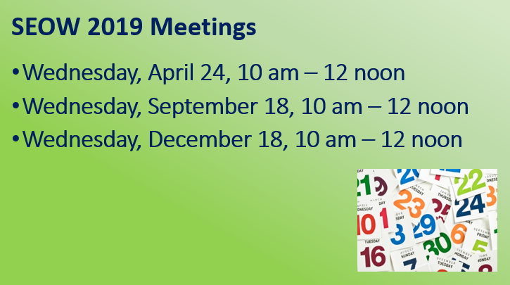 SEOW 2019 Meeting Schedule