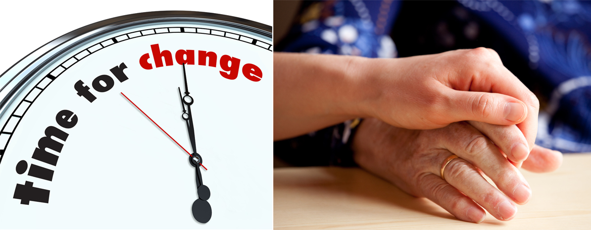 Time for Change clock and two hands