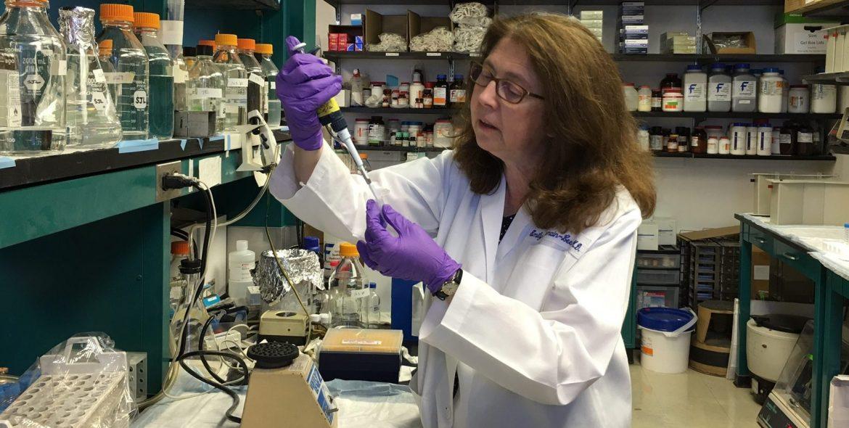Emily L. Germain-Lee, M.D., in her lab
