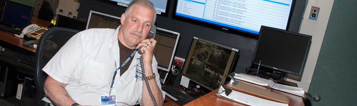 Facilities Management employee on the phone