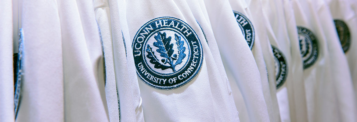 UConn Health lab coats with patch