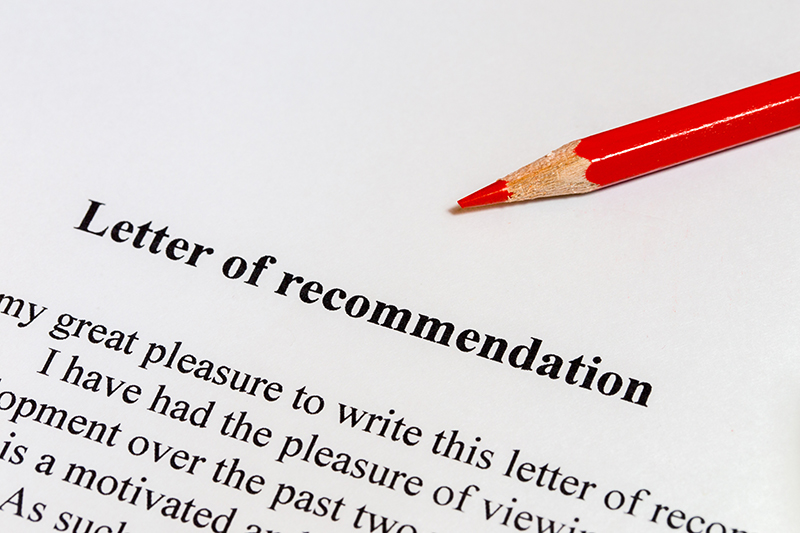 Letter of recommendation with a red pencil