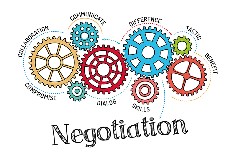 Negotiation text with gears illustration