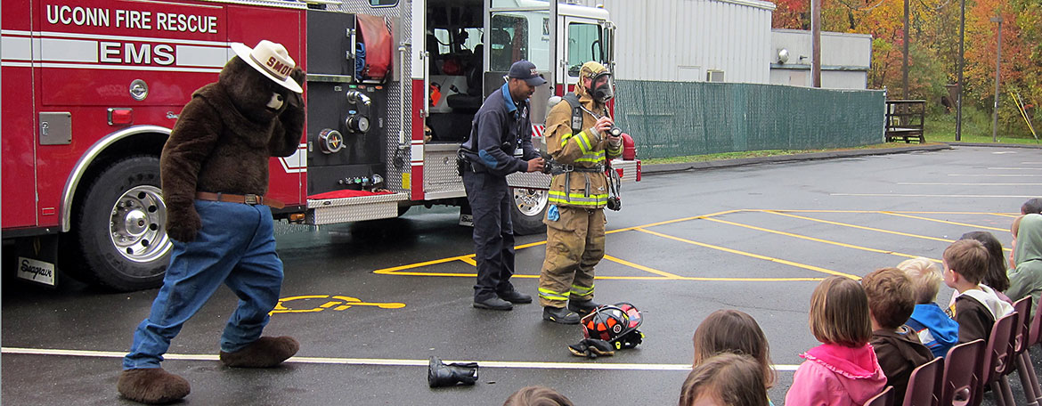 UConn Health Firefighters teach fire prevention to our childcare center