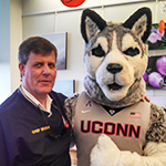James Brown and UConn Husky Dog