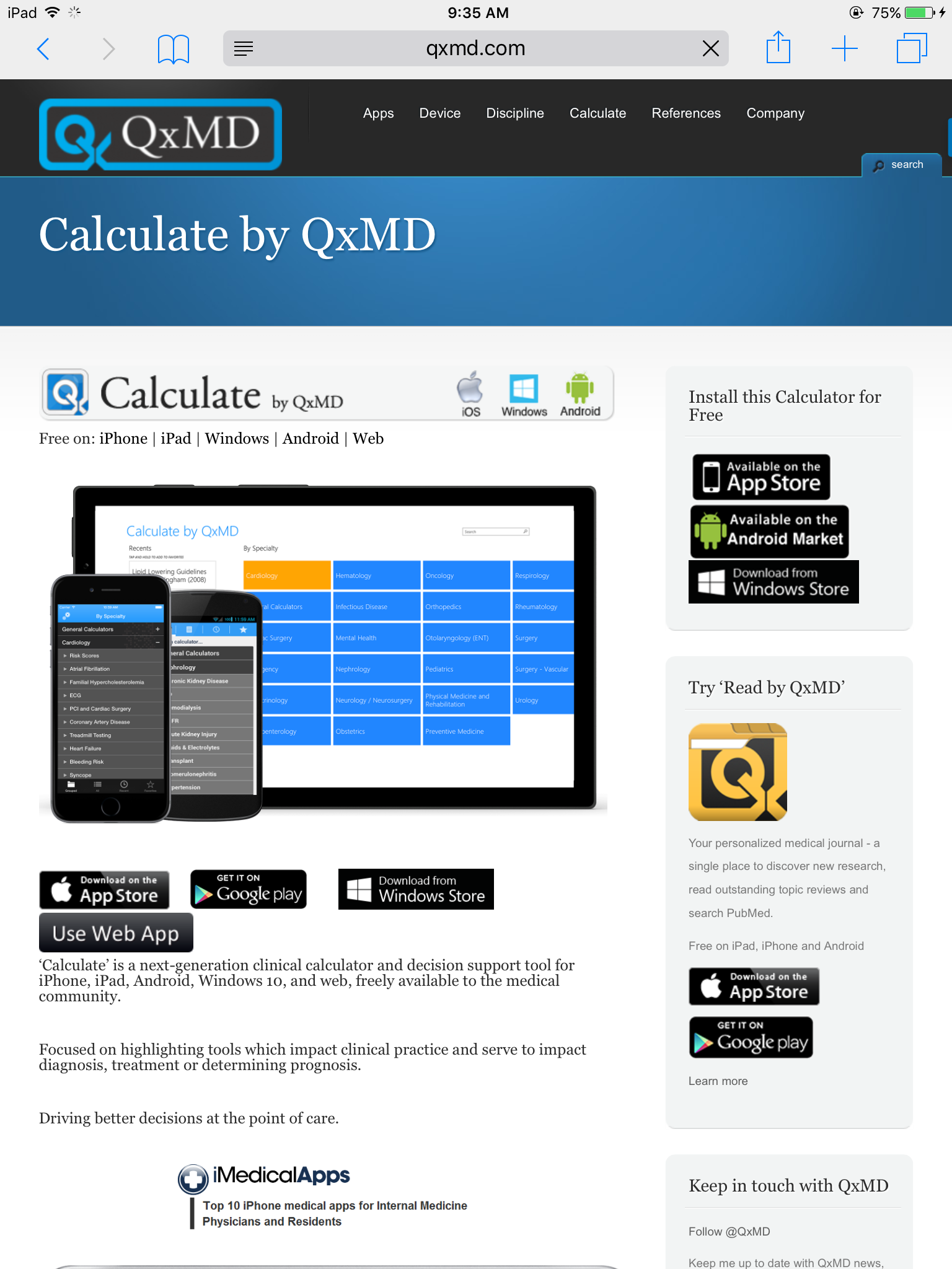 Calculate by QxMD-iPhone and iPad Installation   Academic ... on medical credentialing services, medical reimbursement services, medical personnel services, medical billing services, medical laboratory services,