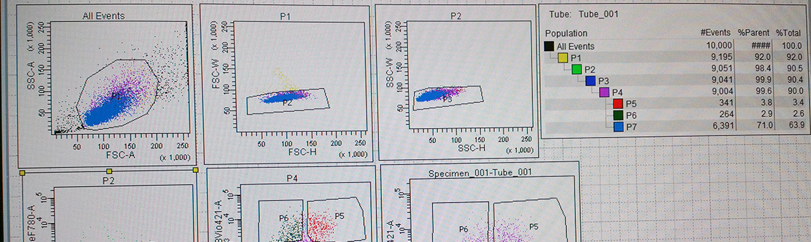 Flow Cytometry graph on monitor screen