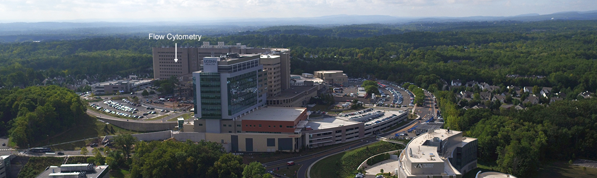 Aerial view of UConn Health showing where Flow Cytometry is located