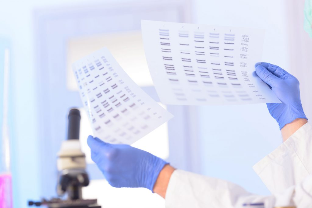 Researcher hands holding up DNA tests
