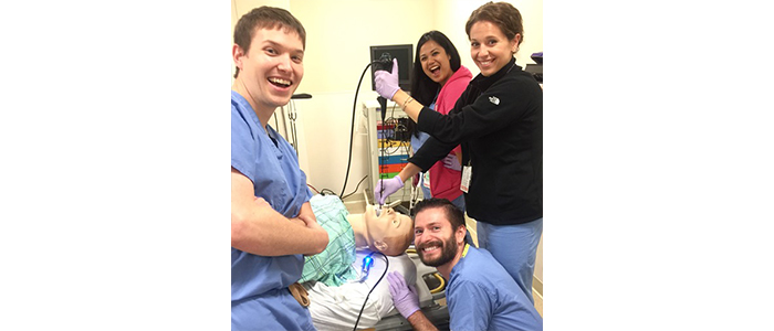 Anesthesiology Residents Practicing FOB at Simulation Center