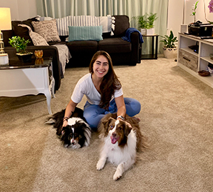 Liz at home with her dogs