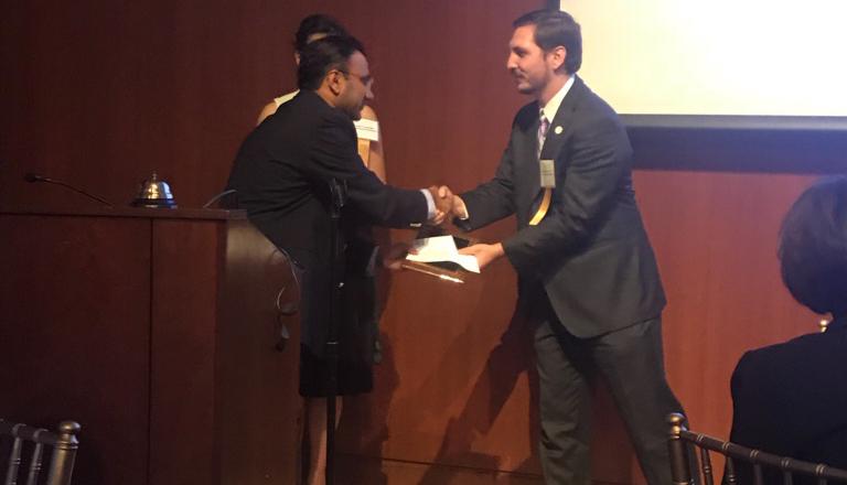 Dr. Rice accepting Hartford County Medical Society Award 2017