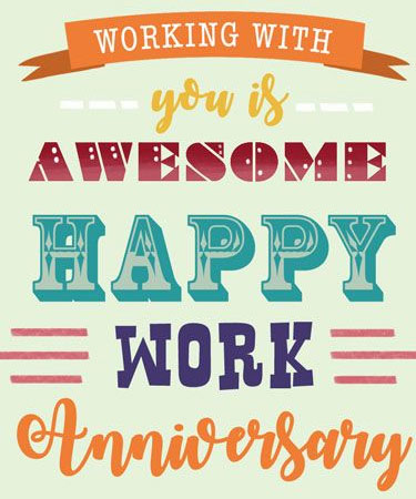 Working With You is Awesome Happy Work Anniversary eCard