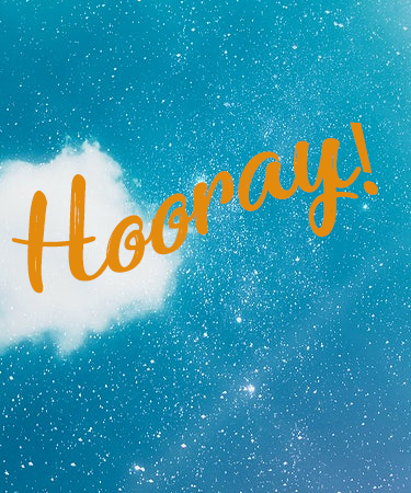 Hooray! with Blue sky and clouds eCard