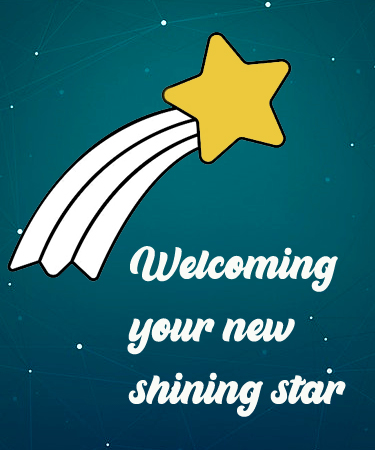 Welcoming Your New Shining Start and shooting star eCard