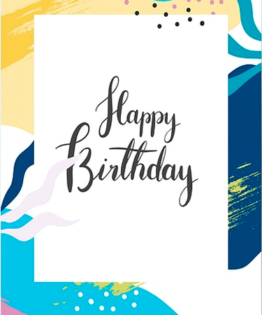 Happy Birthday and a printed graphic background eCard