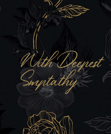 With Deepest Sympathy and dark flowered background eCard