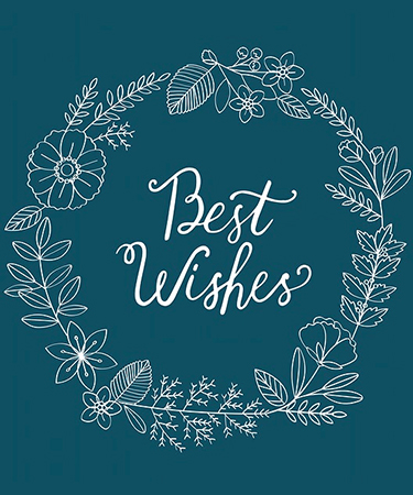 Best Wishes and blue background with white graphic flower ring eCard