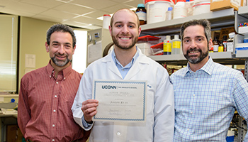 Joe Ryan recieved the 2016 Lepow Award, center, with Dr. Adam Adler, left, and Dr. Anthony Vella, right.