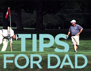 Two men playing golf with a text overlay that says tips for dad