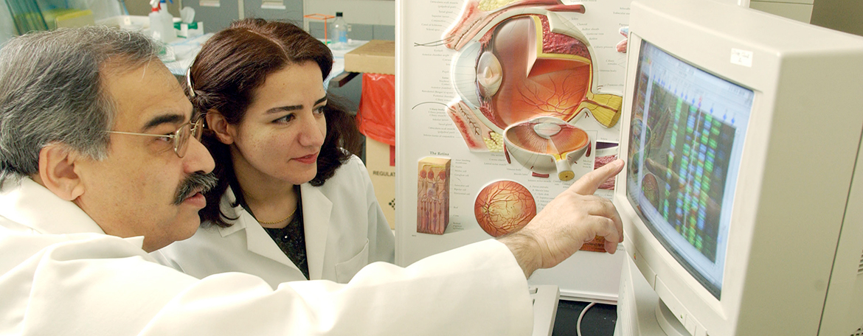 Mansoor Sarfarazi, Ph.D., in his Molecular Ophthalmic Genetics Laboratory