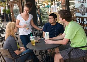 Residents enjoying West Hartford Center
