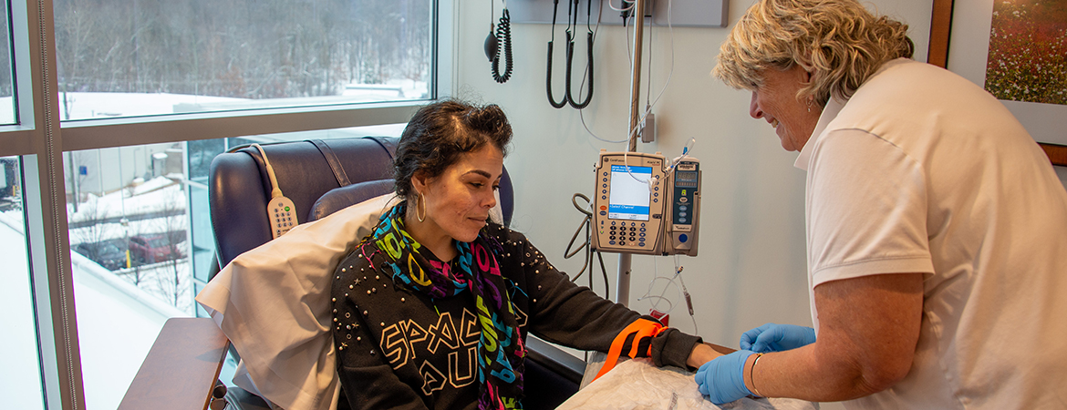 Patient receives a treatment in the Infusion Center