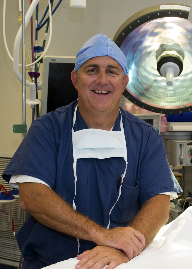 Augustus Mazzocca, M.D., Interim Director, New England Musculoskeletal Institute in the operating room on August 28, 2012. (Tina Encarnacion/UConn Health Center Photo)