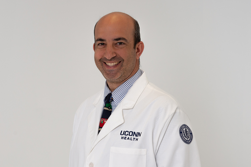 Michael Isakoff MD is a pediatric orthopedic oncologist at UConn Health on May 9, 2018. (Tina Encarnacion/UConn Health photo)