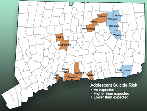 Adolescent suicide map