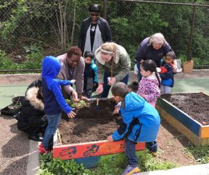 Little City Sprouts photo of young children and adults planting seeds in a raised bed garden plot.