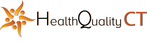 """HealthQuality CT logo with text, """"HealthQuality CT"""""""