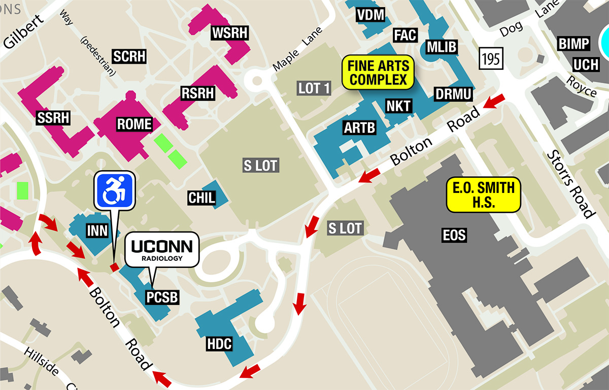 Accessible parking map for UConn Radiology in Storrs