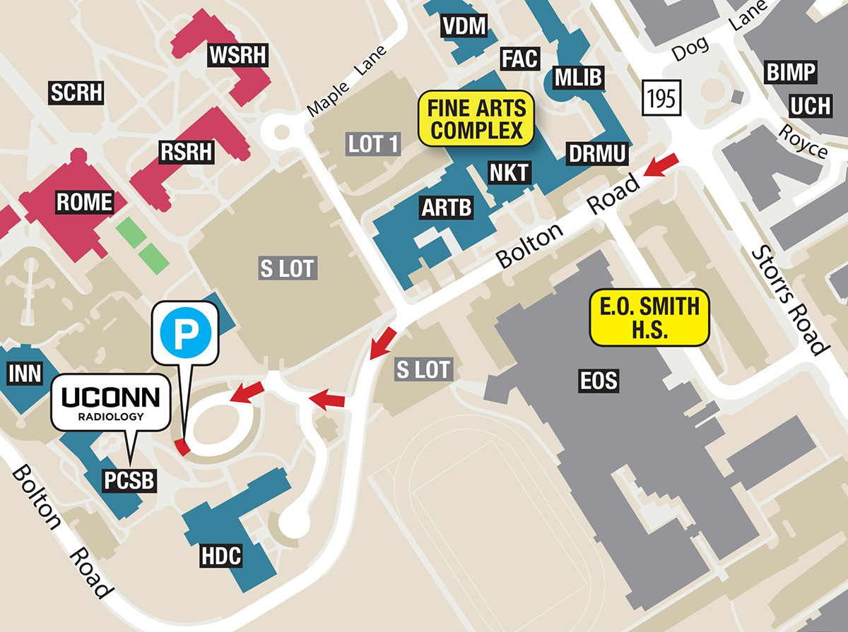 Map of UConn Radiology, Storrs campus