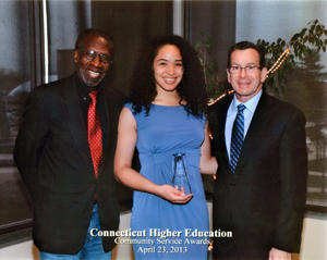 Keshia Ashe with William R. Dyson and Gov. Dannel Malloy