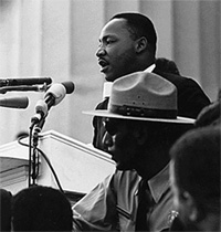 "Dr. Martin Luther King gives his ""I Have a Dream"" speech during the March on Washington in Washington, D.C., on August 28, 1963. Photo courtesy of Wikimedia."