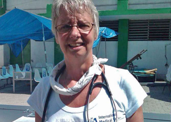 Dawn Smith takes a break from her nursing duties while working at the Hospital Universidad et Haiti in Port of Prince, Haiti.