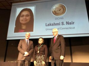 Dr. Lakshmi Nair was inducted into the  National Academy of Inventors (NAI) at its 6th annual meeting in Boston