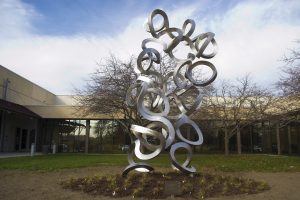 Sculpture of Folded Chromatin in front of CGSB building at UConn Health