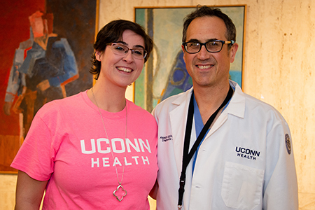 Drea Wall with Dr. Abner Gershon, the nuero-interventionalist that retrieved the clot from her clogged brain
