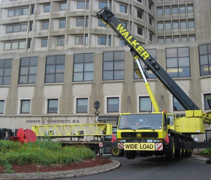 Setting up the crane