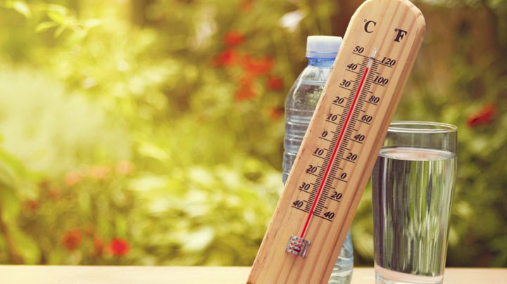 Thermometer and water