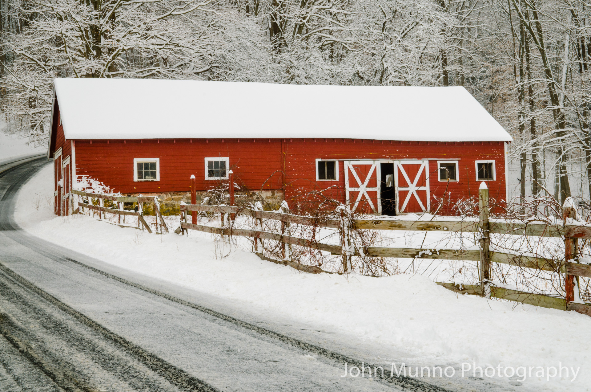 Red barn in the snow in South Britain, CT (John Munno Photography)