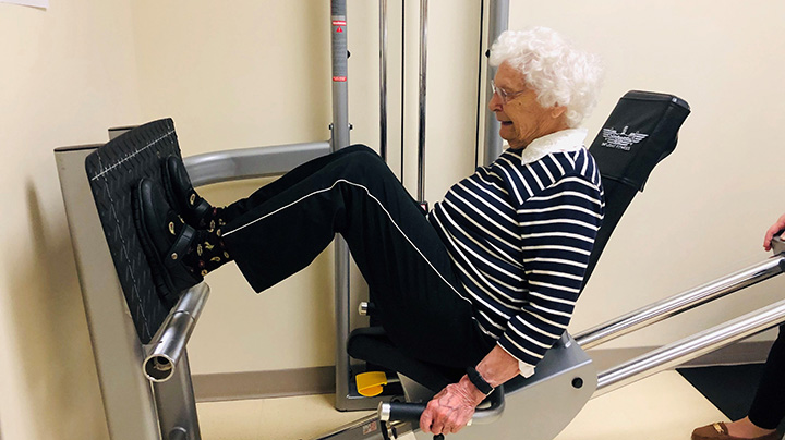 Ruth Vaccaro, 94, of South Glastonbury, does leg presses at UConn Health.