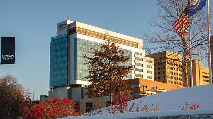 A snowy photo of the UConn Health main Farmington campus